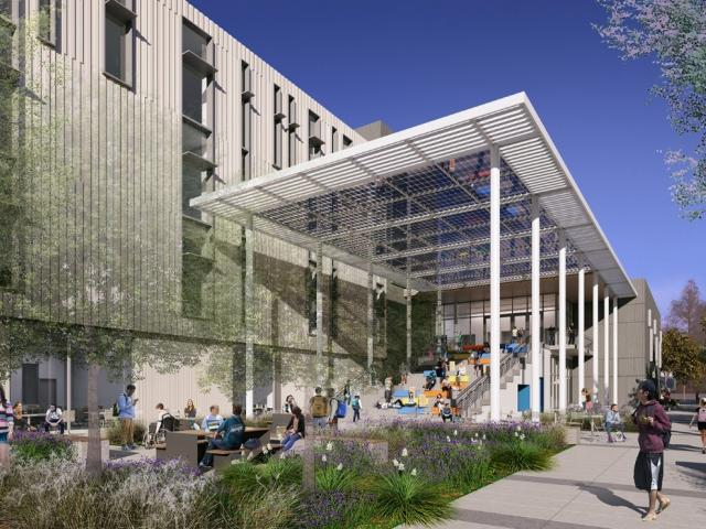 teaching and learning center south plaza rendering uc davis